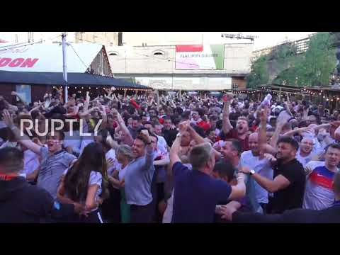 UK: Fans erupt with joy as England opens score against Croatia in semifinal