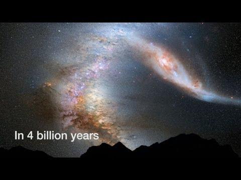 Milky Way Versus Andromeda Von der Erde aus gesehen