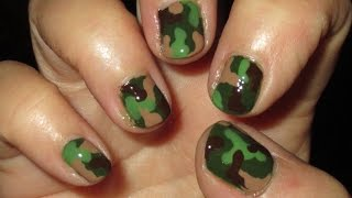 Camouflage Nail Art Tutoral (on Short Nails) - YouTube