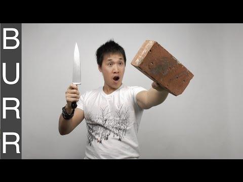 Sharpen a Butcher Knife on a Brick
