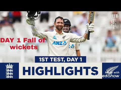 Eng vs NZ DAY 1 2021 1st test fall of wickets
