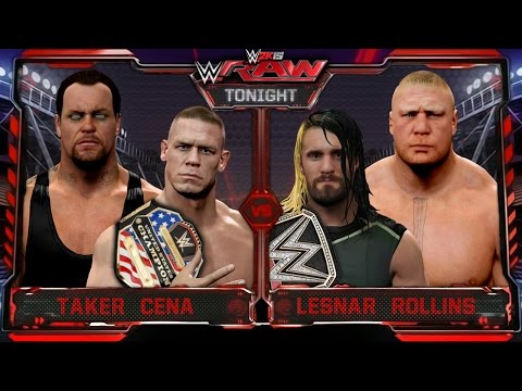 WWE RAW 2K15 - Undertaker & John Cena Vs Brock Lesnar & Seth Rollins - RAW 7/27/15