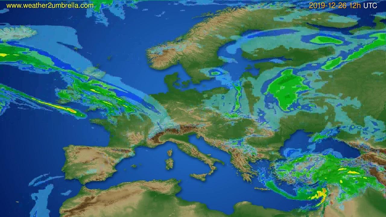 Radar forecast Europe // modelrun: 00h UTC 2019-12-26
