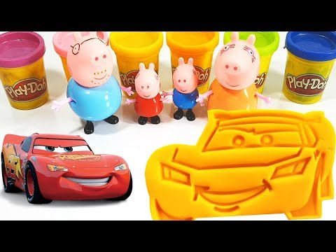 Learn Colors Play Doh Toys Disney Cars Lightning McQueen & Peppa Pig Português Brasil