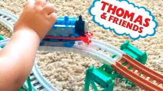 Thomas & Friends. Thomas the Engine on the railway with Mustang car. Let's play kids