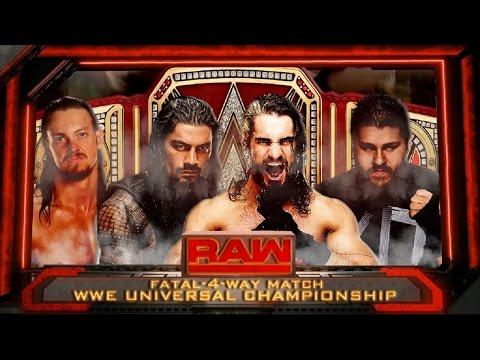 WWE Raw Seth Rollins vs Roman Reigns vs Big Cass vs Kevin Owens Universal Championship