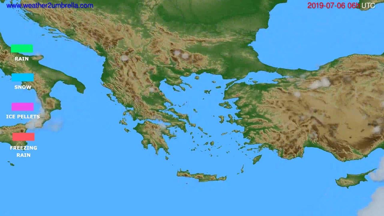 Precipitation forecast Greece // modelrun: 12h UTC 2019-07-03