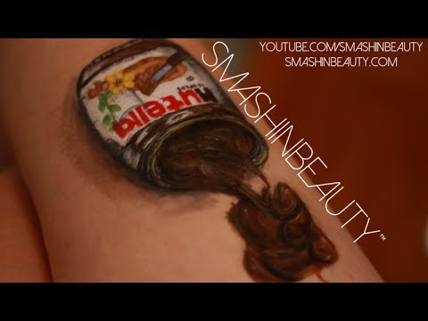 3D Nutella Art Drawing Face Paint Tutorial