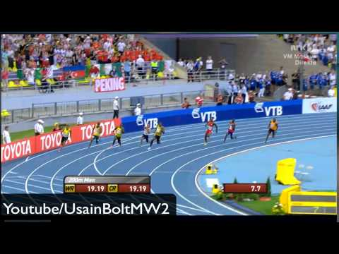 Moscow Usain Bolt 200M Final 19.66 WL World Championships IAAF