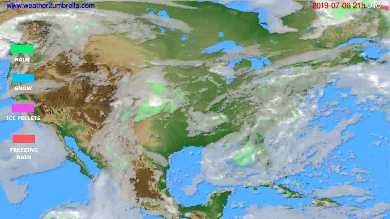 Precipitation forecast USA & Canada // modelrun: 00h UTC 2019-07-05