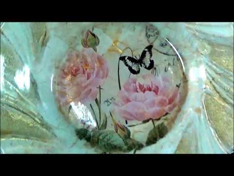 decorazione in decoupage su vetro