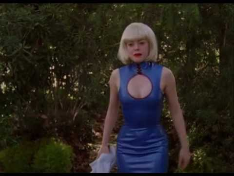 charmed paige matthews blue leather dress