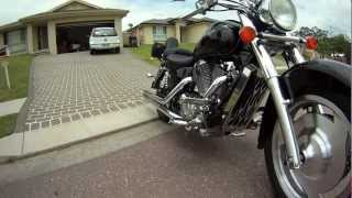 9. Honda Shadow Sabre 1100,  Vance & Hines Pipes and chrome