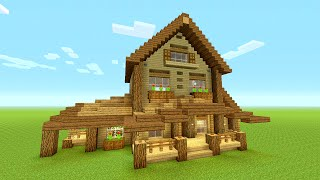 Minecraft Building Tutorial: How to build BIG wooden house | BIG RUSTIC HOUSE TUTORIAL | HUGE