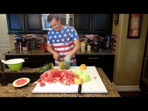 Guy chops huge fruit salad in less than 2 minutes