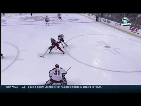 go - Arley Londono with the call of Scottie Upshall's game winning goal as part of Hispanic Heritage Night at the Florida Panthers vs. Arizona Coyotes contest.