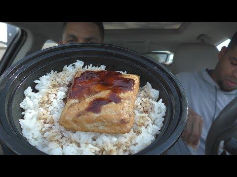 Eating Teriyaki Madness Salmon Bowl @hodgetwins (видео)
