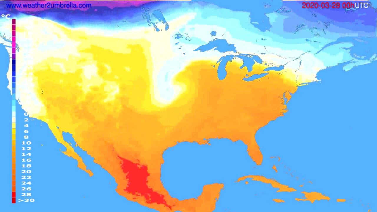 Temperature forecast USA & Canada // modelrun: 00h UTC 2020-03-28