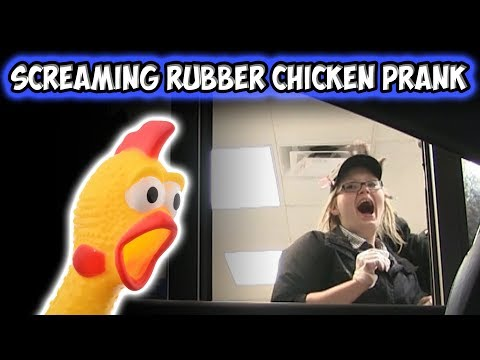 DRIVE THRU SCREAMING RUBBER CHICKEN PRANK!