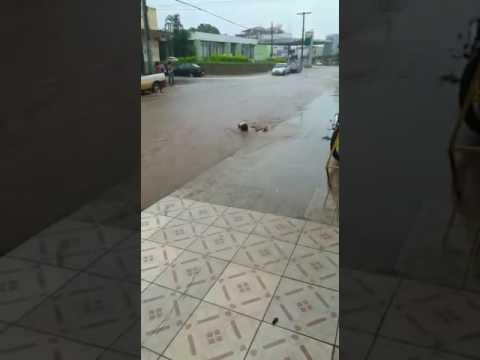 Homem nadando na enxurrada no centro de Carmo do Paranaíba