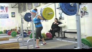 Weightlifting training footage of Catalyst weightlifters. Brian halting clean deadlift, Tamara clean, Jessica jerk, Aly