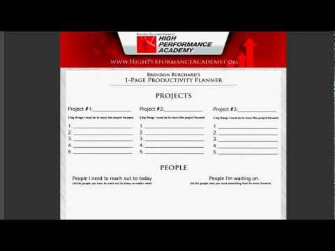 0 Brendon Burchards 1 Page Productivity Planner