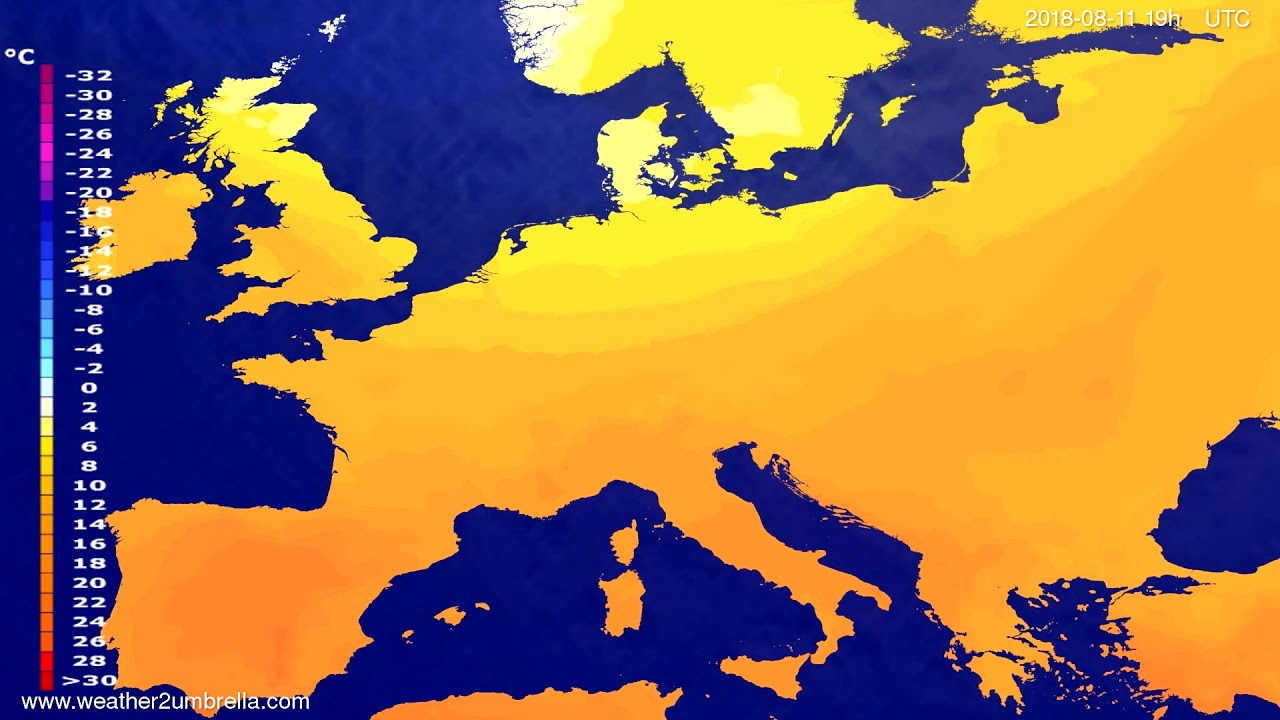 Temperature forecast Europe 2018-08-09