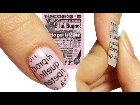 nail art tutorial newspaper rose