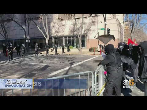 Groups Of Inauguration Day Protesters At California State Capitol Met With Show Of Force