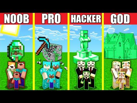 Minecraft Battle: EMERALD HOUSE BUILD CHALLENGE - NOOB vs PRO vs HACKER vs GOD / Animation ORE BLOCK