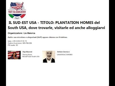 Video IL SUD-EST USA - PLANTATION HOMES del South USA, dove trovarle, visitarle ed anche alloggiarvi (26-9-2017)