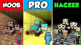Minecraft NOOB vs PRO vs HACKER : FAMILY TUNNEL CHALLENGE in Minecraft Animation!