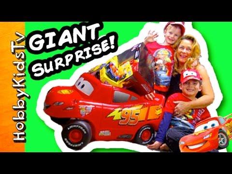 Worlds Biggest CARS Surprise Egg! Lightning McQueen Disney + Minecraft Surprise Toys HobbyKidsTV