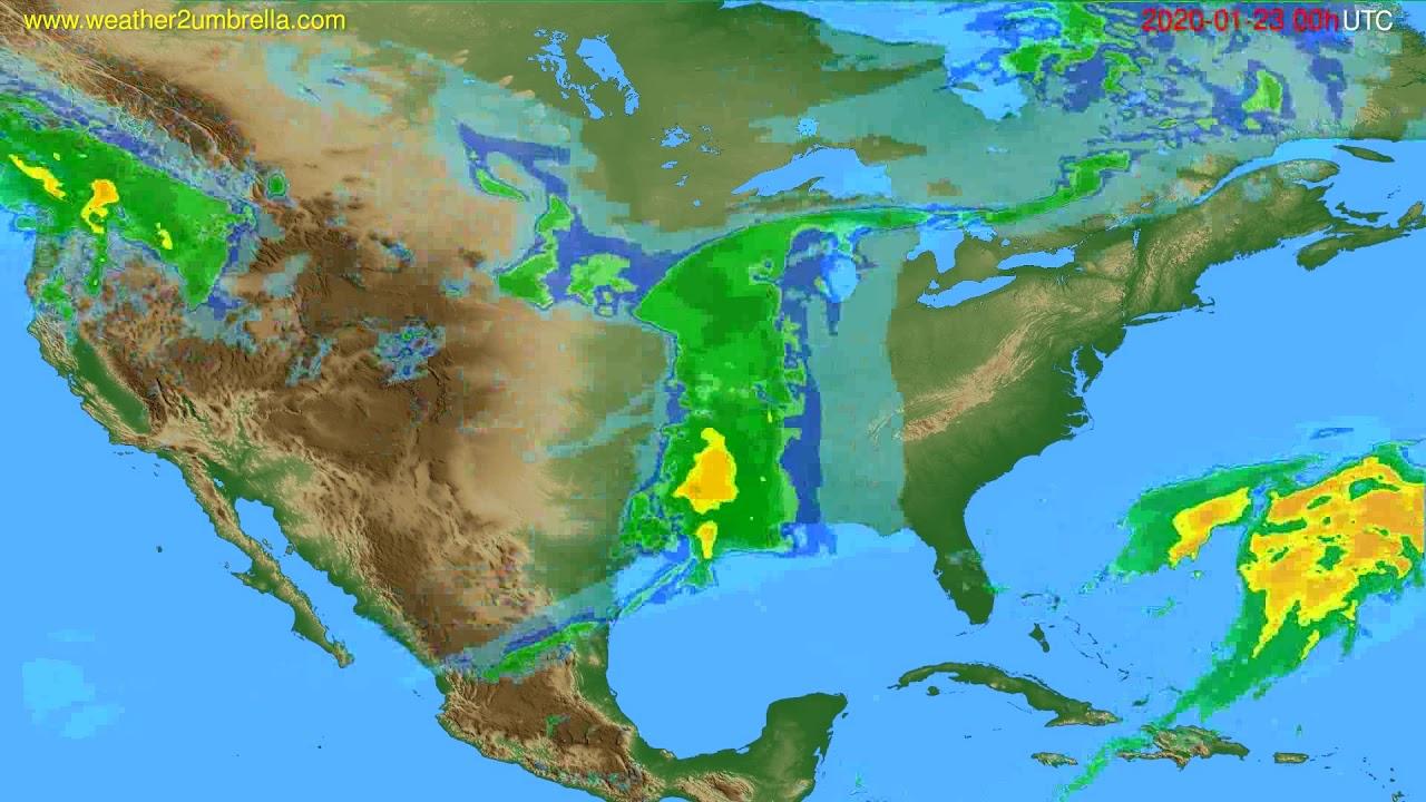 Radar forecast USA & Canada // modelrun: 12h UTC 2020-01-22