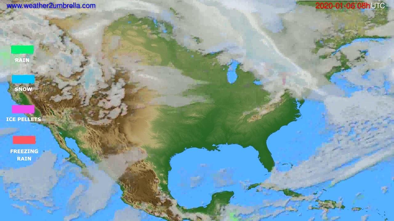 Precipitation forecast USA & Canada // modelrun: 12h UTC 2020-01-05