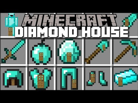 Minecraft DIAMOND HOUSE MOD / LIVING INSIDE A DIAMOND BLOCK!! Minecraft