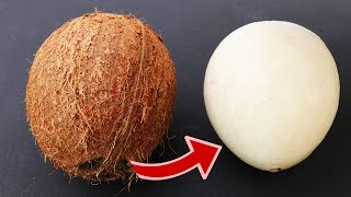 Video How to  remove COCONUT Flesh From Shell,  2 different ways MP3, 3GP, MP4, WEBM, AVI, FLV Juni 2019