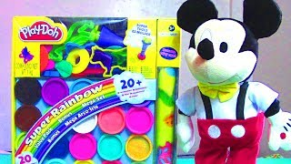 Play Doh Super Rainbow Mega Playset with Mickey Mouse Clubhouse Dancing Mickey