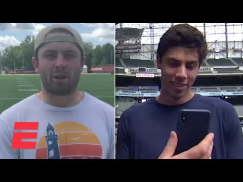 Video: Baker Mayfield asks Christian Yelich about the Body Issue   MLB on ESPN