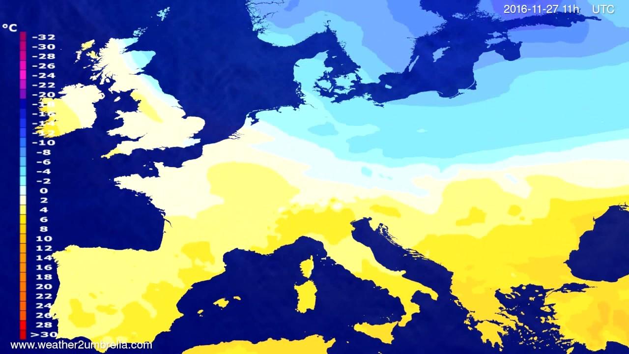 Temperature forecast Europe 2016-11-24