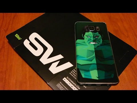SlickWraps Hero Skin For Samsung Galaxy Note 5 - Install/ Review [Hulk] (видео)