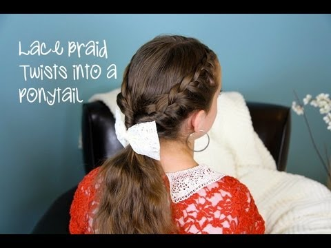 Lace Braid Twists into Ponytail | Cute Girls Hairstyles