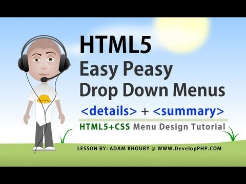 HTML5 CSS Easy Drop Down Category Menus details and summary Elements