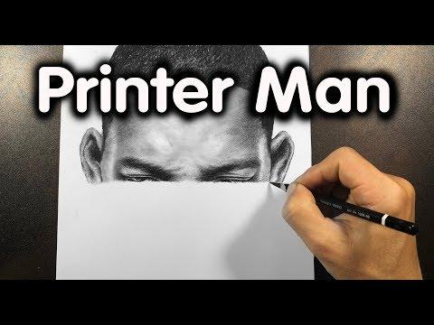 Artist Draws a Lifelike Portrait Just Like a Printer