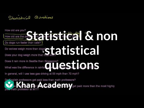 Statistical And Non Statistical Questions Video Khan Academy