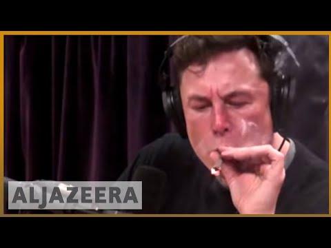 Elon Musk smokes a joint live, Tesla shares plunge   Al Jazeera English