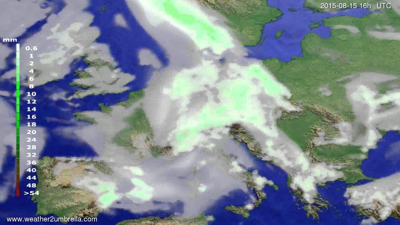 Precipitation forecast Europe 2015-08-12