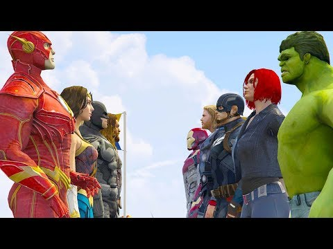 JUSTICE LEAGUE vs THE AVENGERS (GTA V Superhero Extreme Contest)