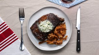 Rib Eye Steak With Blue Cheese Compound Butter And Crispy Onion Strings •Tasty by Tasty