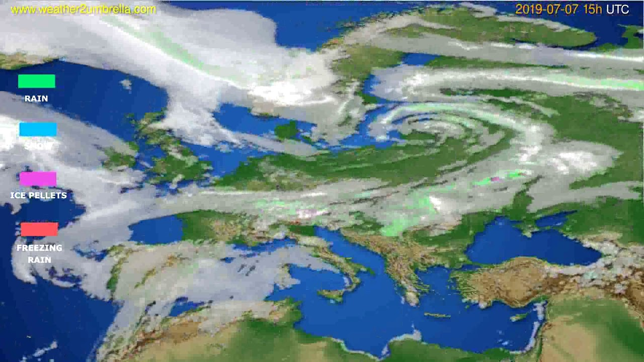 Precipitation forecast Europe // modelrun: 12h UTC 2019-07-04